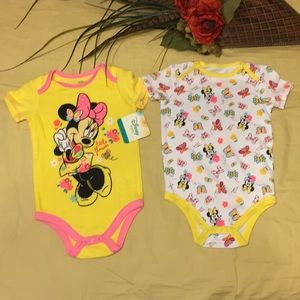 New Minnie Mouse 2 pack bodysuit